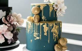 «Красивый и восхитительный свадебный торт в синем цвете[