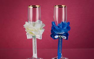 «Красивые и оригинальные бокалы своими руками на свадьбу для жениха и невесты[