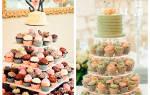 Капкейки на свадьбу, фото свадебных тортов с капкейками