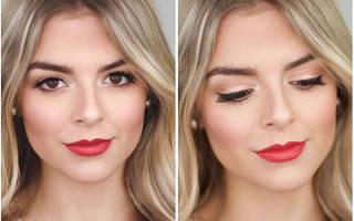 Свадебный макияж с красными губами