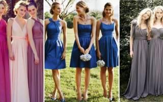 Платья для подружек невесты на свадьбу, фасоны нарядов подружи невесты