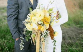 Желтый свадебный букет, фото свадебных букетов желтого цвета
