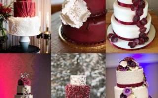 «Вкусный и красивый свадебный торт в цвете марсала[