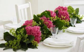 Цветочная композиция из гортензий на стол своими руками