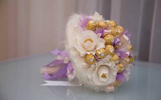 «Букет из конфет – необычные идеи для свадебного букета[