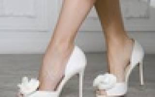 Серебряные свадебные туфли для невесты